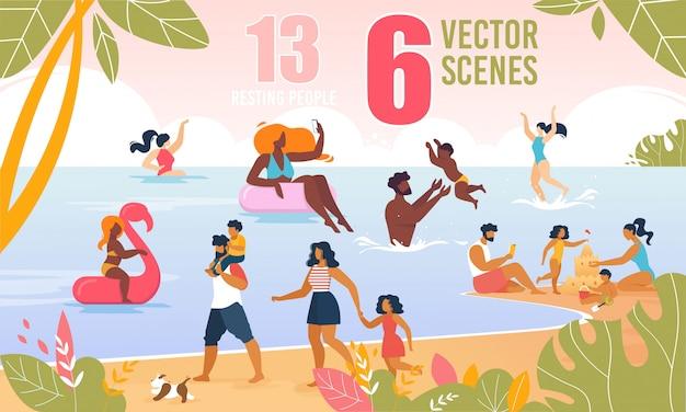 Szczęśliwa rodzina znaków spoczywa na plaży wektor zestaw