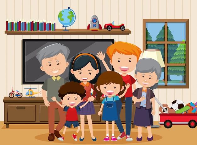 Szczęśliwa rodzina zostaje wpólnie w domu