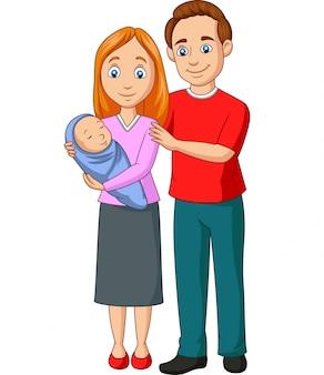 Szczęśliwa rodzinna kreskówka na białym tle