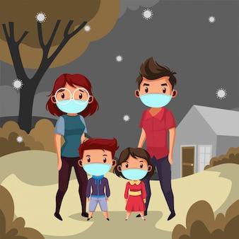 Szczęśliwa rodzinna maska na ubranie postanawia zostać w domu podczas pandemii
