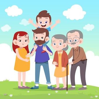 Szczęśliwa rodzinna wektorowa ilustracja
