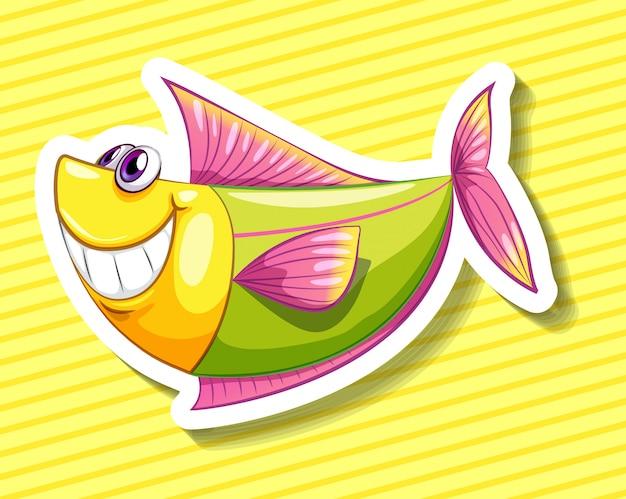 Szczęśliwa ryba na kolor żółty obdzierający