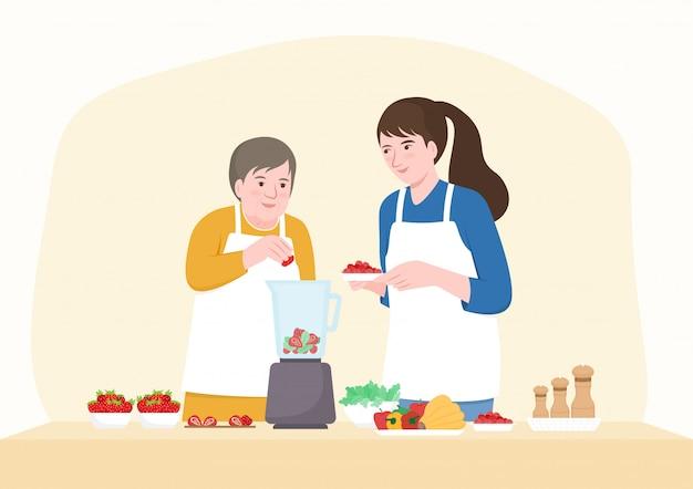 Szczęśliwa senior matka i córka w średnim wieku dodaje owoc w blenderze. płaski charakter postaci.