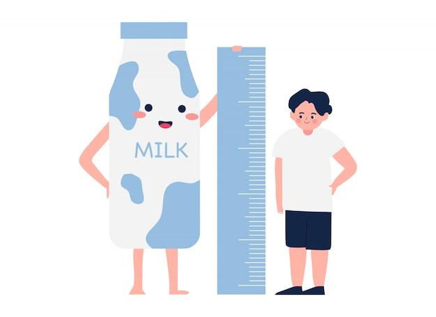 Szczęśliwa śliczna dzieciak chłopiec miara wzrost wraz z kawaii mleka kreskówki ilustracją