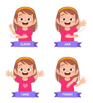 Szczęśliwa śliczna dzieciak dziewczyna studiuje część ciała anatomię