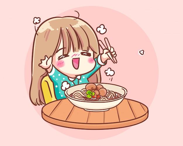 Szczęśliwa śliczna dziewczyna jedzenie makaronu ilustracja kreskówka premium wektorów