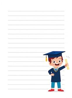 Szczęśliwa śliczna małe dziecko chłopiec notatnika szkoły ilustracja