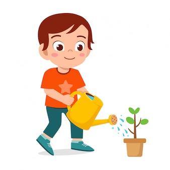 szczęśliwa śliczna małe dziecko chłopiec podlewania kwiatu ilustracja