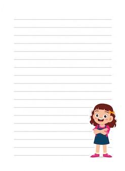 Szczęśliwa śliczna małe dziecko dziewczyny notatnika szkoła