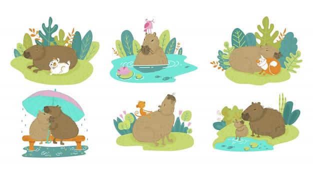 Szczęśliwa śliczna śmieszna kapibara na kreskówki zwierzęcej gryzoni odizolowywającej na bielu. kapibara z dzieckiem, psem, kotem, małpą na lato przyrody. dobiera się kapibara pod parasolem w deszczu na ławce