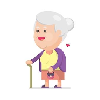 Szczęśliwa śliczna stara kobieta z torbą