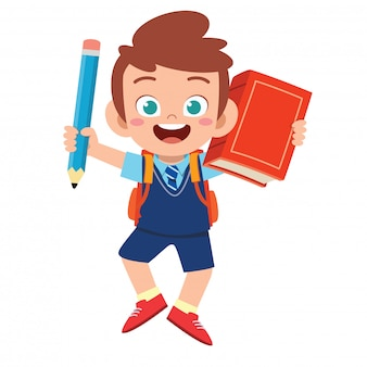 szczęśliwa śliczna studencka dzieciak chłopiec z książką i ołówkiem