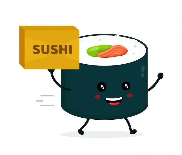 Szczęśliwa śliczna uśmiechnięta funnu suszi rolka z pakuneczkiem. sushi, koncepcja dostawy żywności azji. projekt płaski kreskówka postać na białym tle
