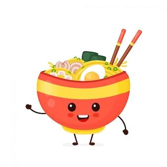 Szczęśliwa śliczna uśmiechnięta ramen miska