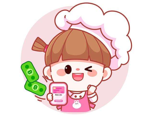 Szczęśliwa słodka dziewczyna kucharz przelew płatności na telefon komórkowy banner logo ilustracja kreskówka sztuki