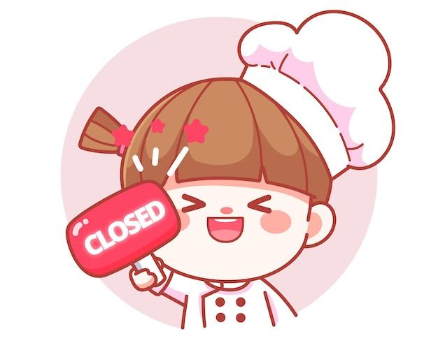 Szczęśliwa słodka dziewczyna kucharz trzyma czerwony zamknięty znak transparent logo ilustracja kreskówka sztuki