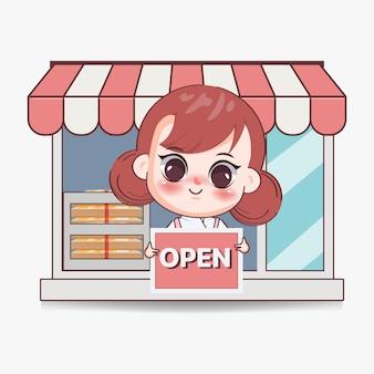 Szczęśliwa słodka dziewczyna kucharz trzyma otwarty znak transparent logo ilustracja kreskówka sztuki