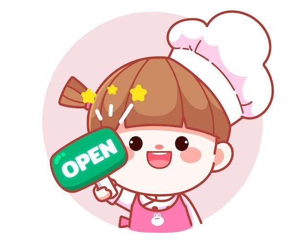 Szczęśliwa słodka dziewczyna kucharz trzyma zielony otwarty znak transparent logo ilustracja kreskówka sztuki