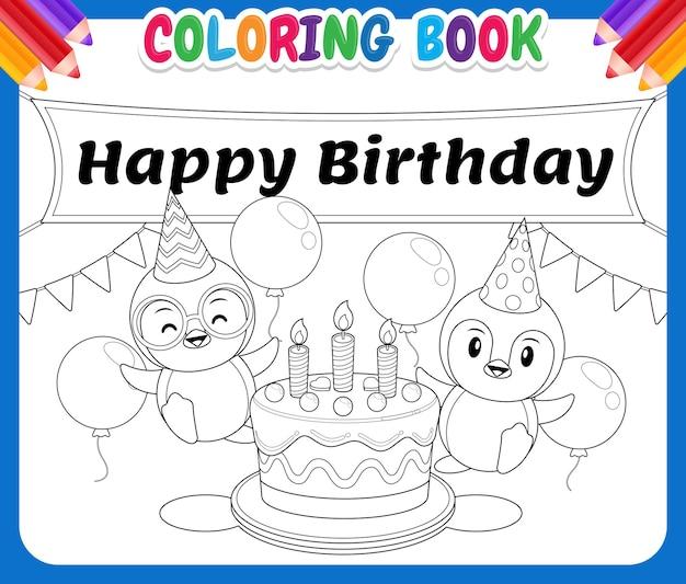 Szczęśliwa słodka para pingwin wokół tortu urodzinowego
