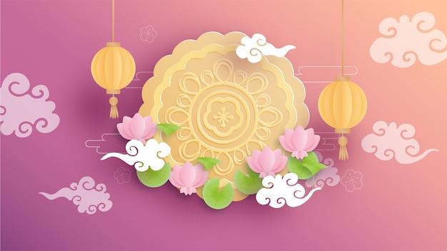 Szczęśliwa środkowa jesień z pięknym ciastem lotosu i księżyca.