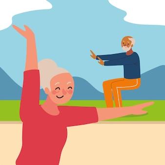Szczęśliwa starsza para robi jogę