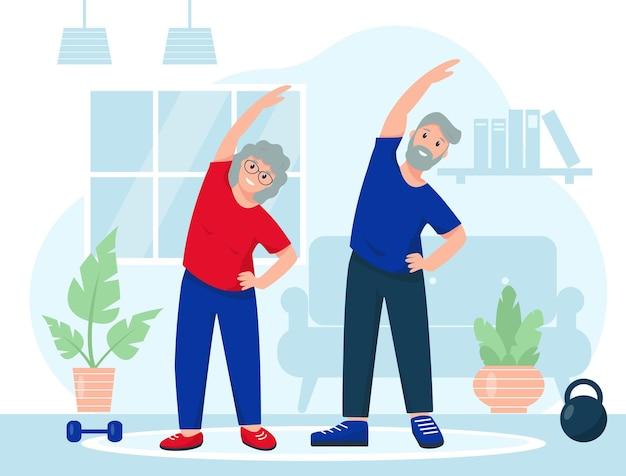 Szczęśliwa starsza para uprawia sport w domu. ćwiczenia fitness, zdrowy styl życia lub koncepcja sportu online.