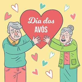 Szczęśliwa starszej osoby para trzyma kierowego kształt