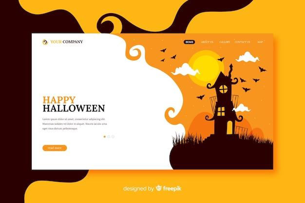 Szczęśliwa strona docelowa halloween w płaskiej konstrukcji