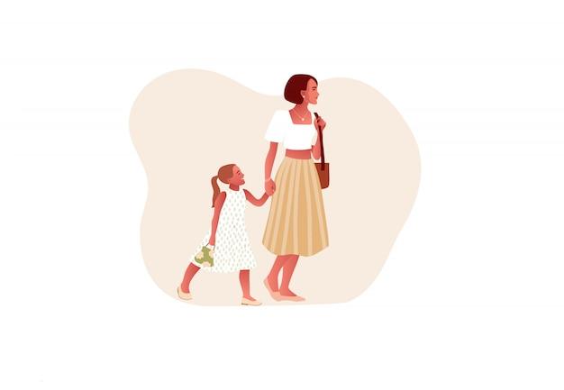 Szczęśliwa stylowa matka z córką. mama trzyma rękę córki. szczęśliwego dnia matki. na białym tle styl kreskówki. ilustracja