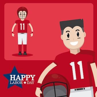 Szczęśliwa święto pracy karta z gracz futbolu kreskówką