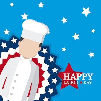 Szczęśliwa święto pracy karta z szef kuchni kreskówką