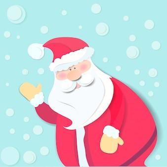 Szczęśliwa święty Mikołaj Kreskówka Dla Wesoło Kartki Bożonarodzeniowa Premium Wektorów