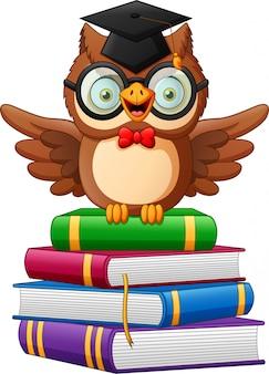 Szczęśliwa szkolna sowa kreskówka