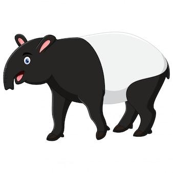Szczęśliwa tapir kreskówka odizolowywająca