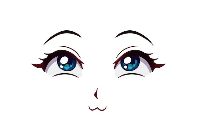 Szczęśliwa twarz anime. duże niebieskie oczy, mały nos i usta w stylu manga. ręcznie rysowane ilustracji.