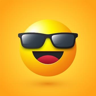 Szczęśliwa twarz z emoji okularów przeciwsłonecznych