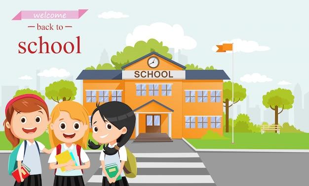 Szczęśliwa uczennica idzie do szkoły razem. powrót do koncepcji szkoły