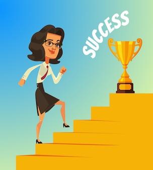 Szczęśliwa uśmiechnięta biznesowa postać wspina się po schodach do sukcesu i złotego pucharu
