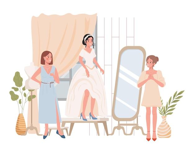 Szczęśliwa uśmiechnięta panna młoda próbuje na płaskiej ilustracji sukni ślubnej