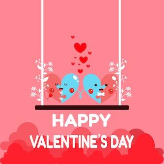 Szczęśliwa valentine karta. kreskówka para serca.