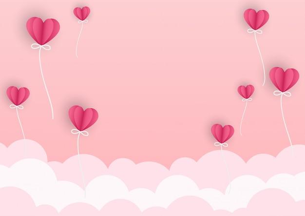 Szczęśliwa valentines dzień karta z papierowym sercem