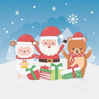 Szczęśliwa wesoło kartka bożonarodzeniowa z santa claus i zwierzętami