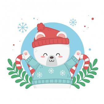 Szczęśliwa wesołych kartki świąteczne z misiem