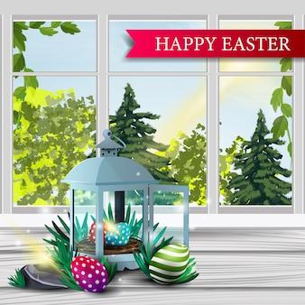 Szczęśliwa wielkanoc, pocztówka z wiosna krajobrazem
