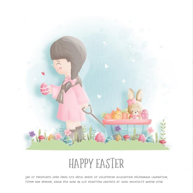 Szczęśliwa wielkanoc z śliczną dziewczyną, królikiem i wielkanocnymi jajkami w papieru cięcia stylu ilustraci.