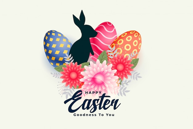 Szczęśliwa wielkanocna dzień karta z kwiatu królikiem i jajkami