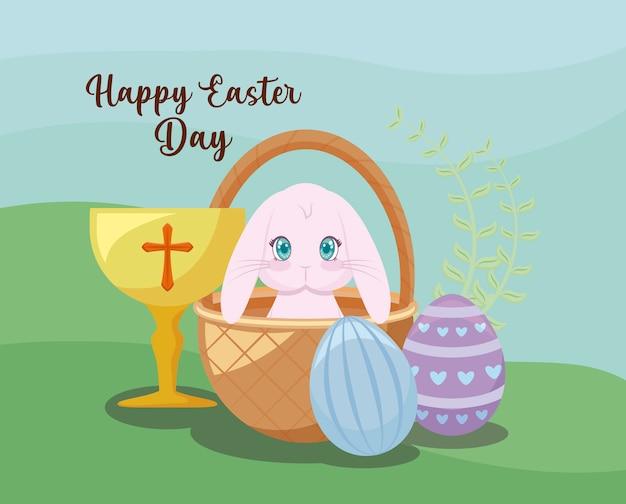 Szczęśliwa wielkanocna dzień karta z ślicznym królikiem i kielichem