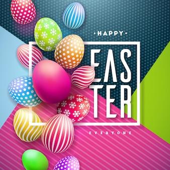 Szczęśliwa wielkanocna ilustracja z kolorowym malującym jajkiem