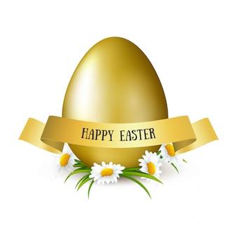 Szczęśliwa wielkanocna ilustracja z złotym jajkiem, kwiatami chamomiles, złotym grunge muśnięcia uderzeniem i literowaniem. banner sprzedaż. kartka z życzeniami
