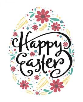 Szczęśliwa wielkanocna kaligrafia w jajku z rocznika kwiatu wzorem